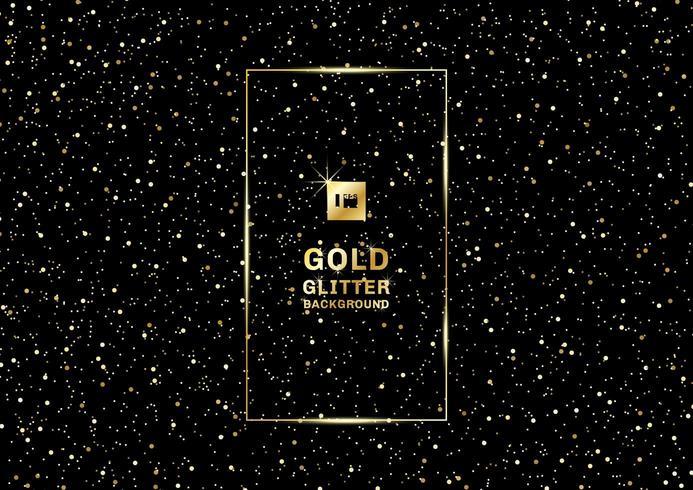 Glitter dourado sobre um fundo preto e textura vetor