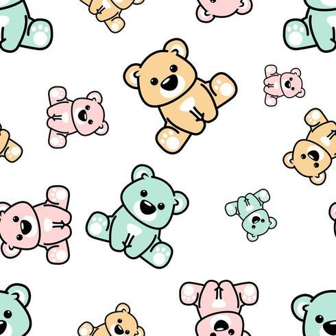 Ursos coloridos fofos sentado sem costura padrão vetor