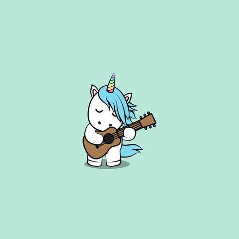 Unicórnio fofo tocando desenho de guitarra vetor