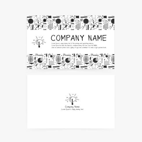 Cartões de visita com mão desenhada doodle ícones de negócios para sua empresa. vetor