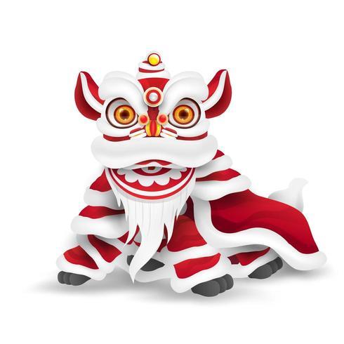 Dança do Leão do Ano Novo Chinês vetor