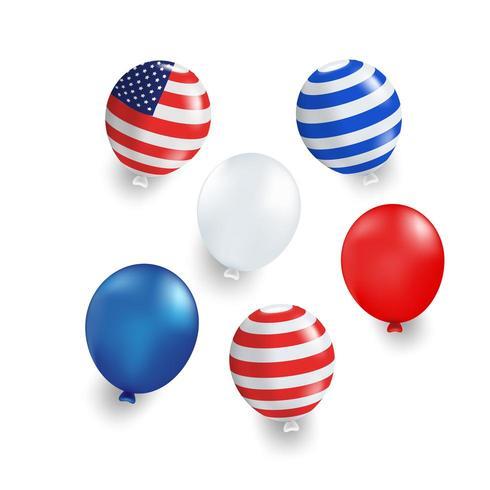 Balão de várias cores com bandeira dos EUA listrada vetor