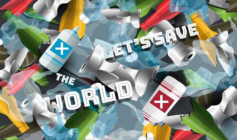 Lixo e pilhas de plástico Salve o mundo do conceito de plástico vetor