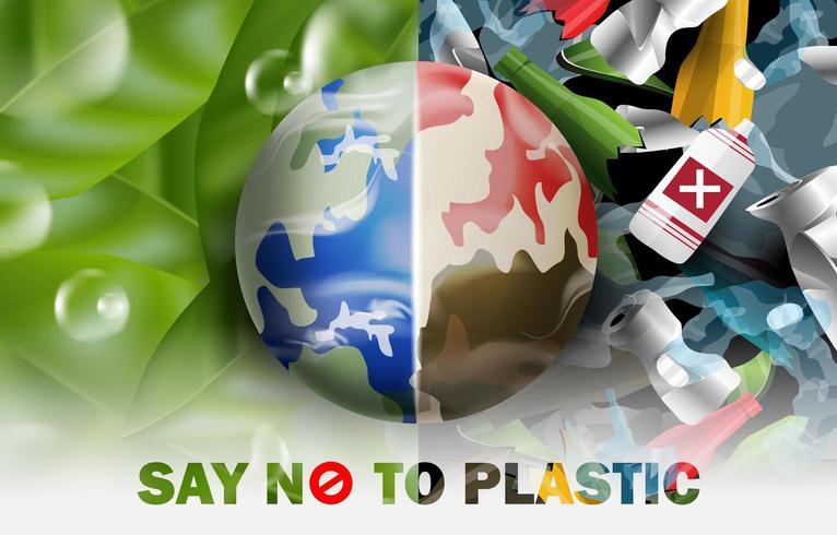Diga não ao plástico Salve o mundo do conceito de plástico vetor