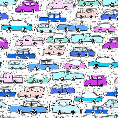Carro Doodle cores frescas de fundo vetor