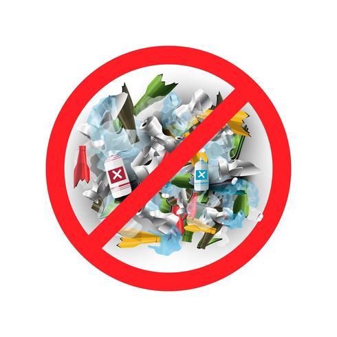 Sem lixo ou plástico em estilo realista vetor