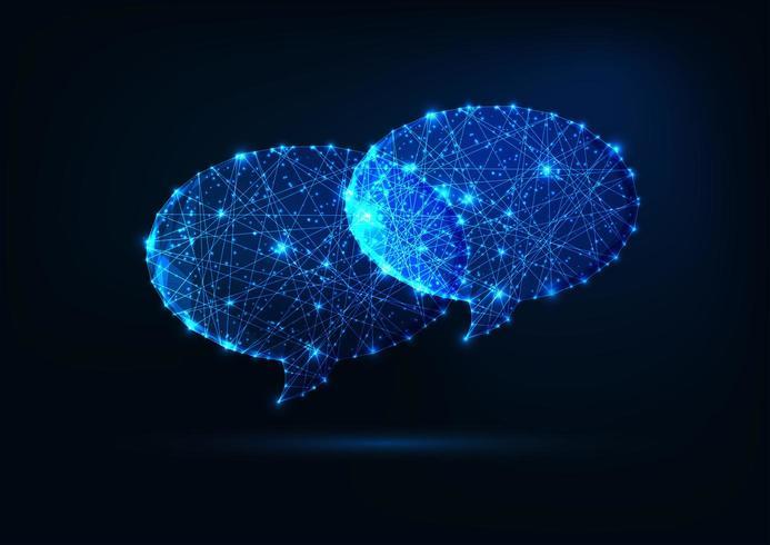 Duas bolhas de discurso poligonais brilhantes brilhantes futuristas vetor