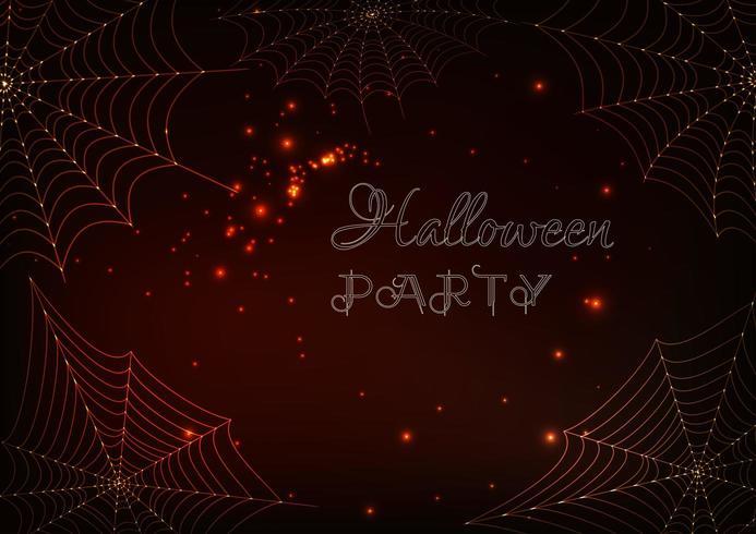 Teias de aranha brilhantes e texto de festa de Halloween em fundo marrom escuro vetor