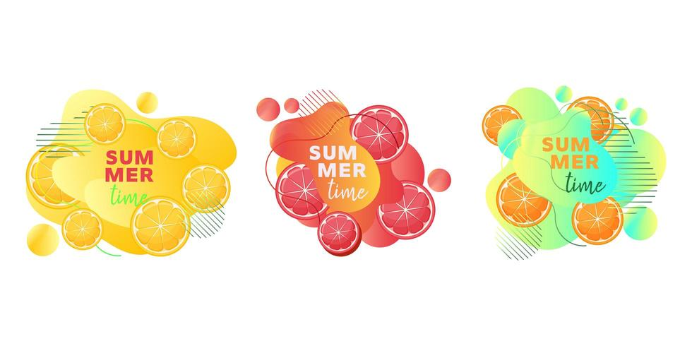 Horário de verão web banners conjunto com frutas limão, laranja, toranja e formas abstratas de líquidos vetor