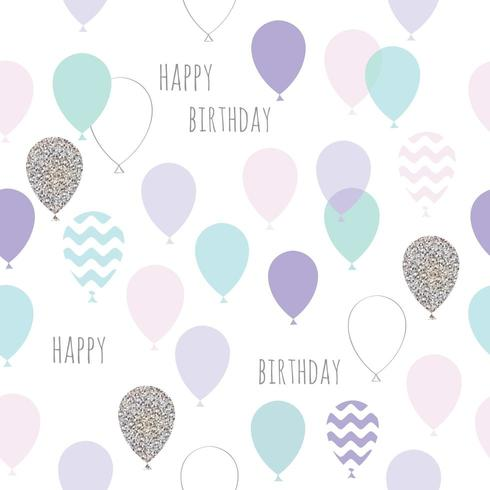 Bonito aniversário sem costura, padrão de chuveiro de bebê com balões vetor