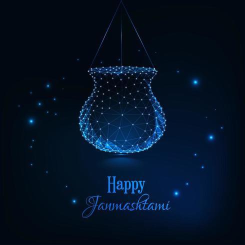 Janmashtami feliz, festival indiano dahi handi celebração cartão vetor