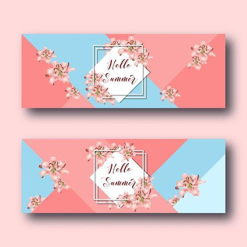 Olá banners de verão web conjunto com flores alvas, quadro de diamante branco e texto em coral e azul. vetor
