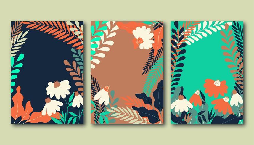 Conjunto de cartazes de verão com flores de camomila plana, prados e folhas vetor
