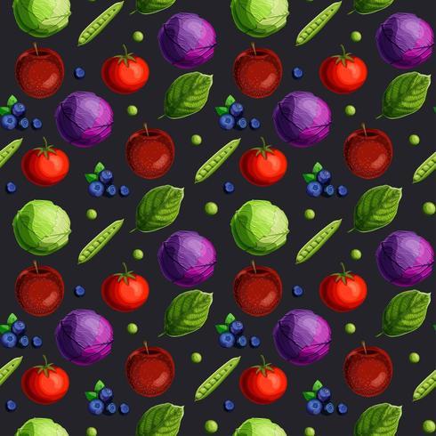 Padrão sem emenda com fesh legumes, frutas, bagas e folhas verdes vetor