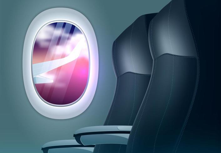 Conceito de oferta de viagens com avião de olho de boi vetor