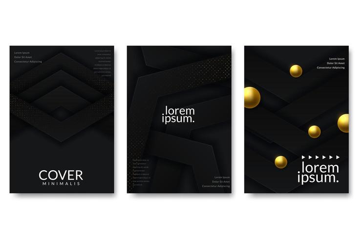 Resumo de papel cortado design de capa de ouro vetor