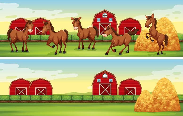 Cenas da fazenda com cavalos e celeiros vetor