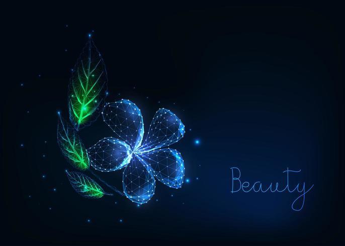 Flor de plumeria baixa poligonal brilhante futurista com folhas verdes vetor