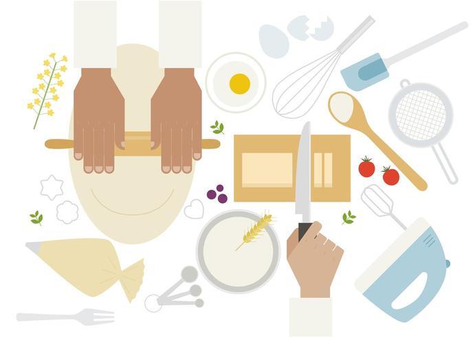 Vista superior das mãos cozinhando em cima da mesa vetor