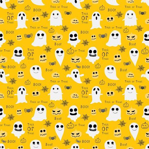 Fantasmas e duendes Halloween sem costura padrão de fundo amarelo vetor