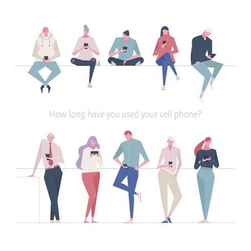 Conjunto de caracteres usando telefone celular vetor