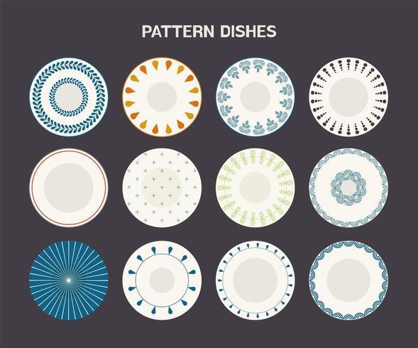 Pratos com conjunto de padrões vetor