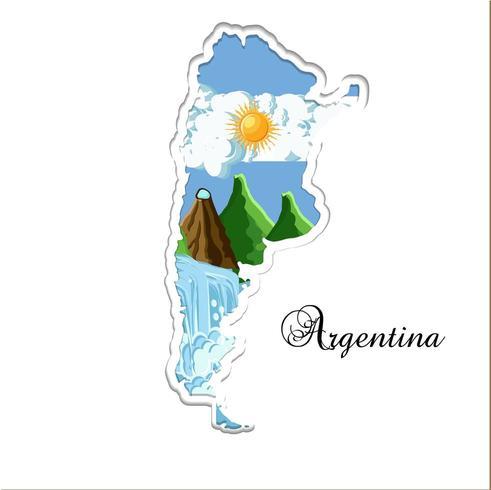 Silhueta de corte de papel de mapa de Argentina vetor