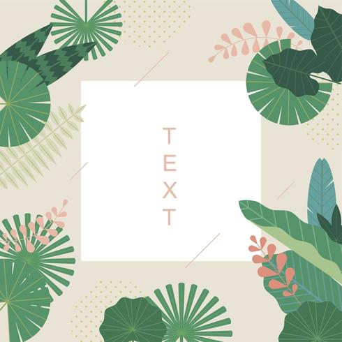 Design de cartão com folhas tropicais padrão vetor