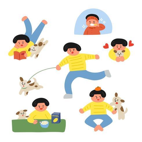Rotina diária de um menino e seu cachorro vetor
