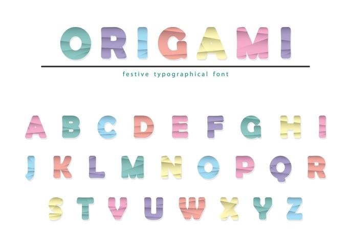 Papel origami moderno cortado fonte vincada. vetor