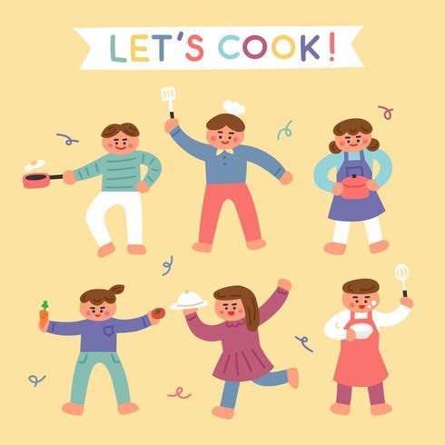 Lindos filhos animados sobre culinária vetor