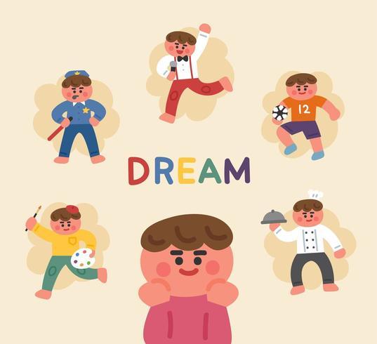 Menino sonhando com carreira futura vetor