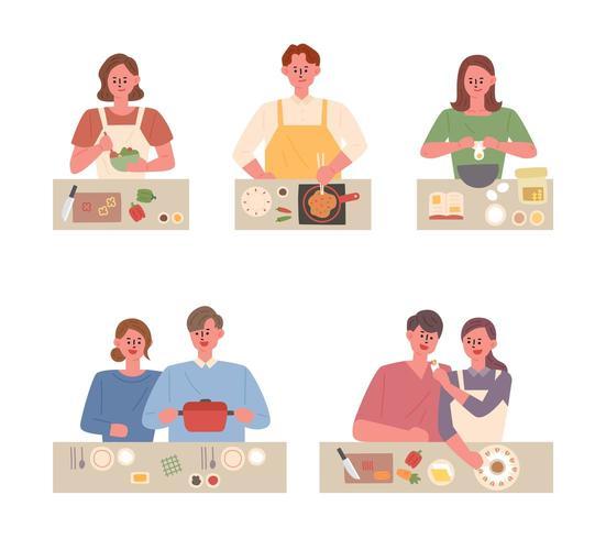 Pessoas cozinhando pratos diferentes vetor