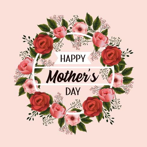 grinalda de celebração do dia das mães com flores vetor