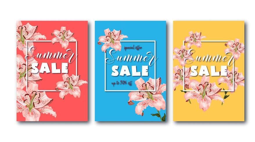 Panfletos de venda verão conjunto com flores de lírio oriental coral, moldura quadrada branca e texto promocional. vetor