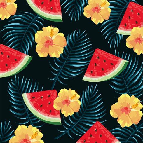 flores tropicais com melancia e folhas de fundo vetor