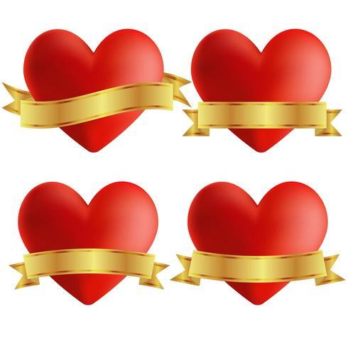Conjunto de ícones de coração com emblemas vetor