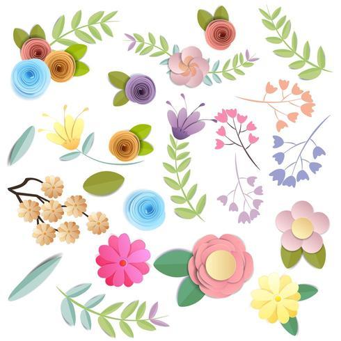 Conjunto de flores de papel ofício em cores brilhantes do outono vetor