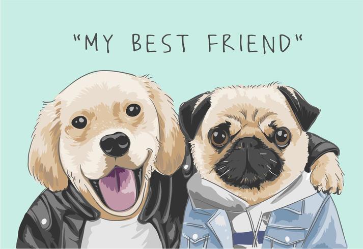 slogan de amizade com ilustração de amigo de cães dos desenhos animados vetor