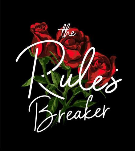 slogan de disjuntor de regras em fundo de rosas vermelhas vetor