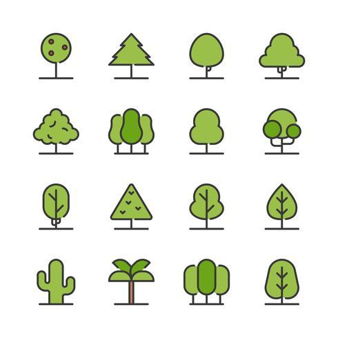 Conjunto de ícones de árvore vetor