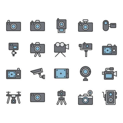 Conjunto de ícones relacionados à câmera vetor