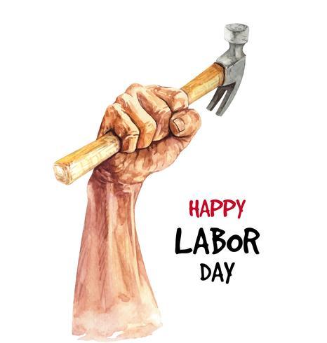 Aquarela mão desenhada ilustração do dia do trabalho de mão e martelo vetor