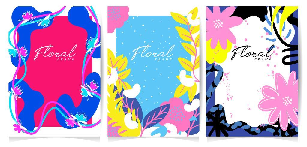 Conjunto de quadro de flor desenhada de mão vetor