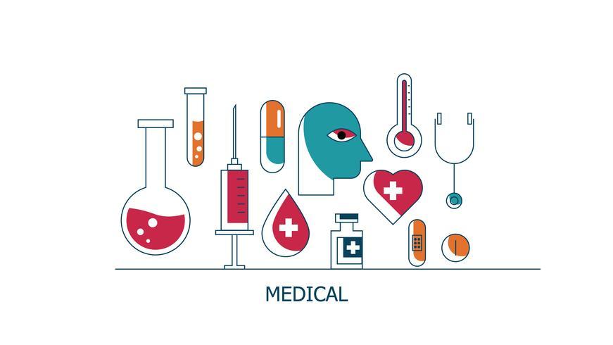 Cuidados de saúde e conjunto de ícones médicos vetor