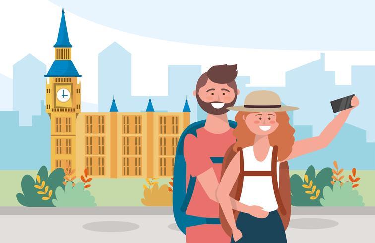 Mulher e homem tirando uma foto em Londres vetor