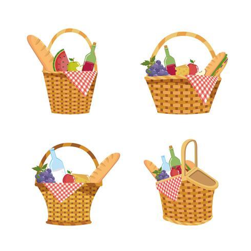 Conjunto de cesta de piquenique com decoração de comida e toalha de mesa vetor