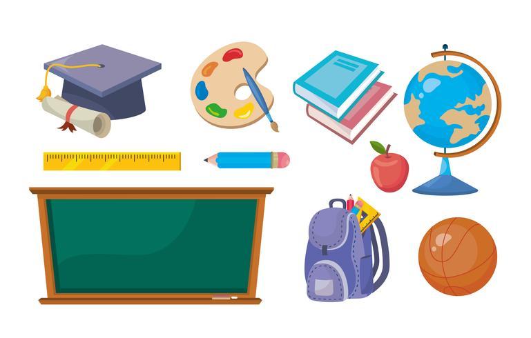 Conjunto de objetos de sala de aula de ensino fundamental vetor