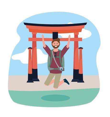 Homem pulando na frente da escultura de Tóquio vetor