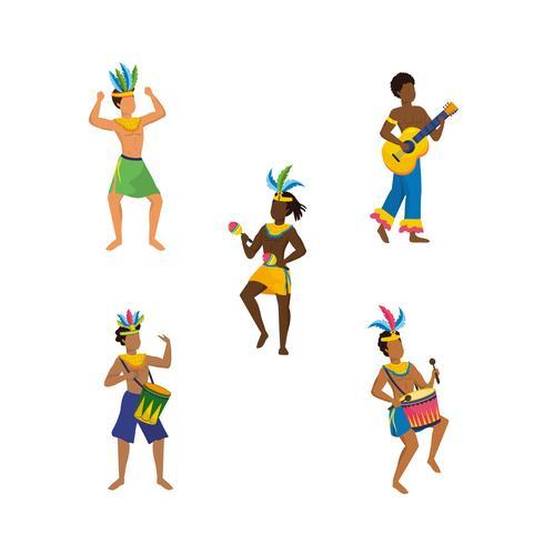 Conjunto de dançarinos de homens de carnaval e músicos vetor